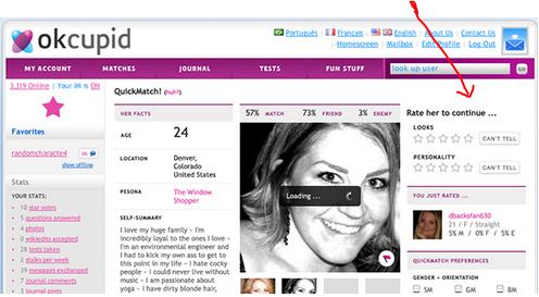 Screen shot taken from OkCupid blog.