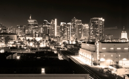 Sepia black and white downtown